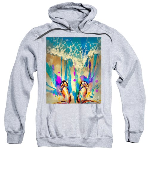 Sweatshirt featuring the painting Vacation Time by Tithi Luadthong