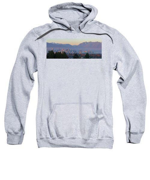 Vancouver Bc Downtown Cityscape At Sunset Panorama Sweatshirt