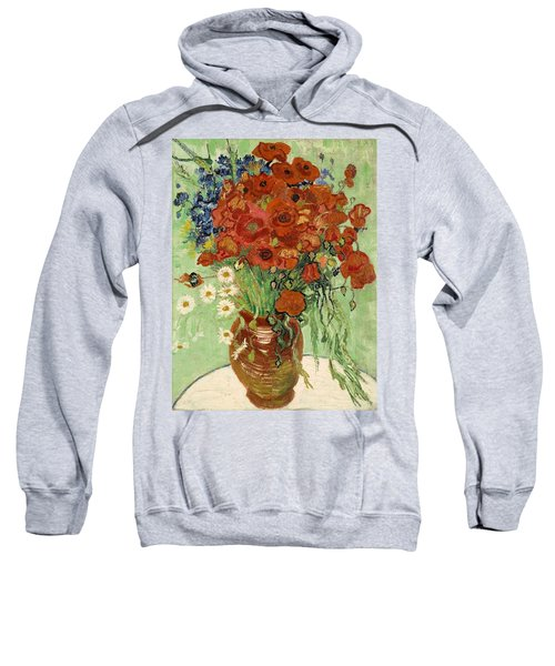 Sweatshirt featuring the painting Vase With Daisies And Poppies by Van Gogh