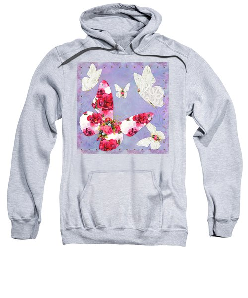 Victorian Wings, Fantasy Floral And Lace Butterflies Sweatshirt