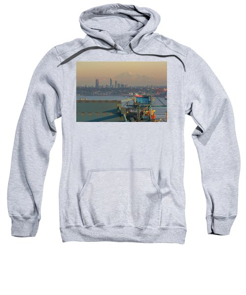 View Of Mount Baker And Vancouver Bc At Sunset Sweatshirt