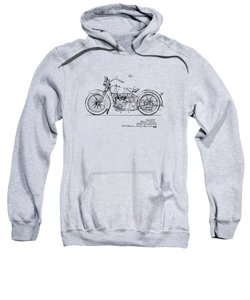 Vintage Harley-davidson Motorcycle 1928 Patent Artwork Sweatshirt by Nikki Smith