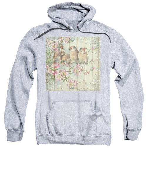 Vintage Shabby Chic Floral Faded Birds Design Sweatshirt