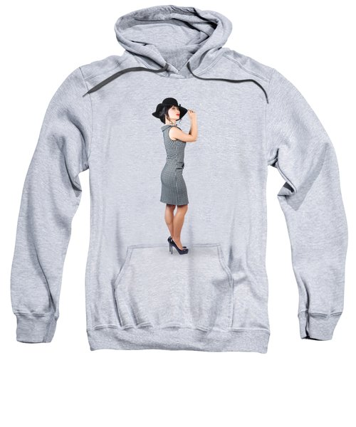 Vintage Summer Clothes Woman. Full Length Portrait Sweatshirt