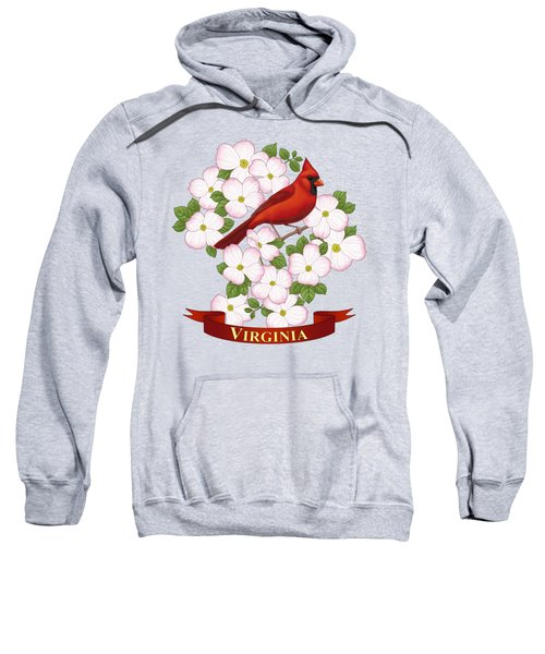 Virginia State Bird Cardinal And Flowering Dogwood Sweatshirt by Crista Forest