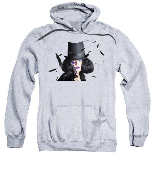 Vogue Woman In Black Costume Sweatshirt