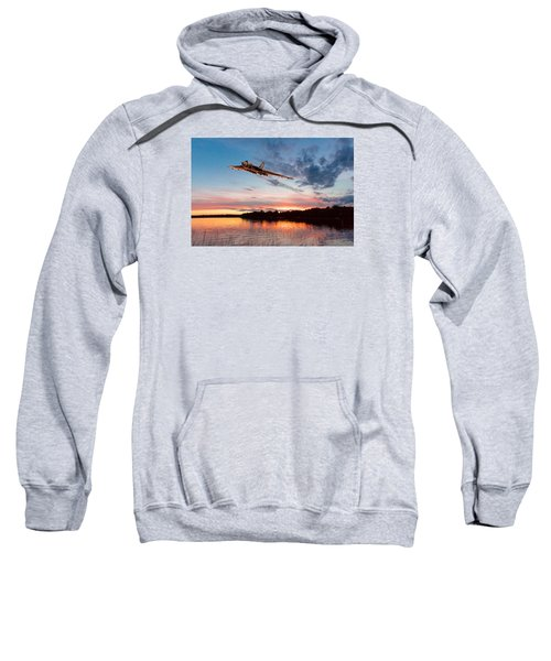 Sweatshirt featuring the digital art Vulcan Low Over A Sunset Lake by Gary Eason
