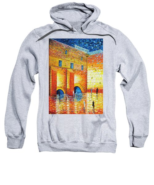 Sweatshirt featuring the painting Wailing Wall Original Palette Knife Painting by Georgeta Blanaru