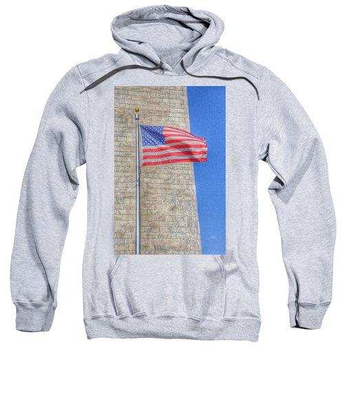 Washington Monument With The American Flag Sweatshirt