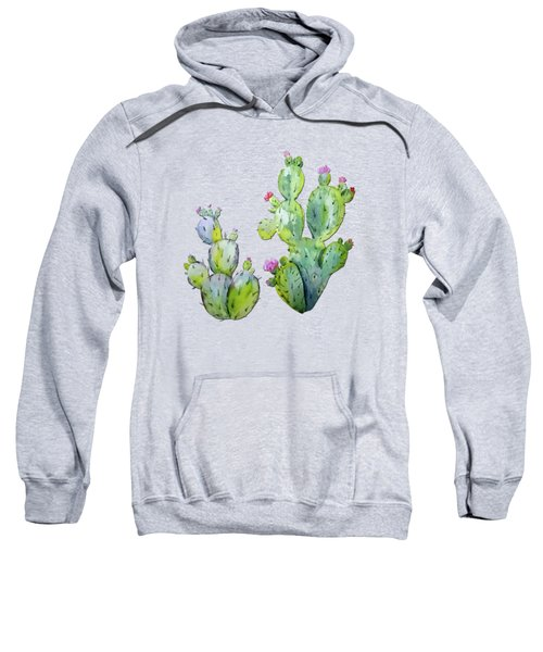 Water Color Prickly Pear Cactus Adobe Background Sweatshirt by Elaine Plesser
