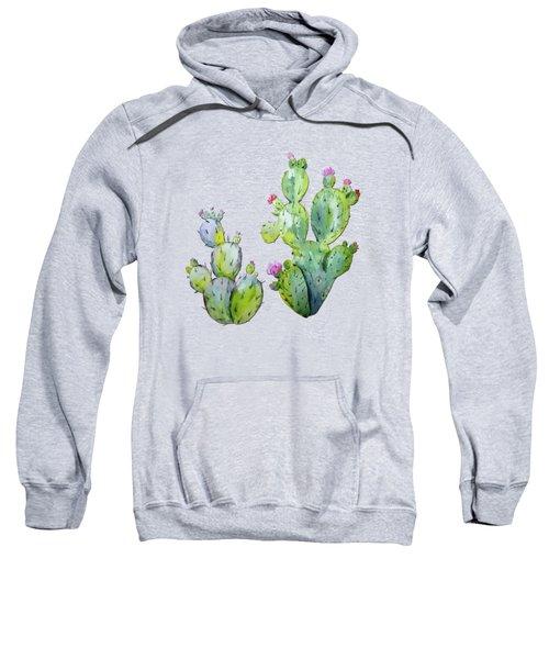 Water Color Prickly Pear Cactus Adobe Background Sweatshirt