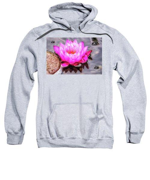 Water Lily In The Rain Sweatshirt
