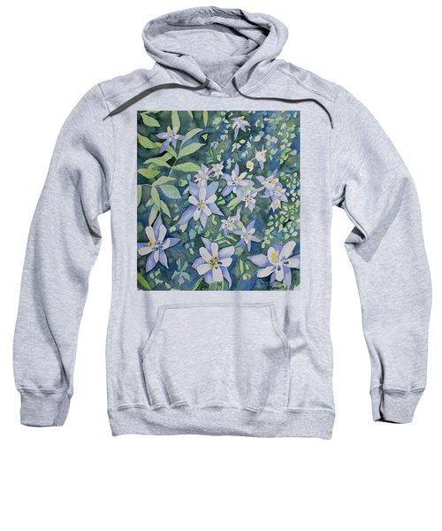 Watercolor - Blue Columbine Wildflowers Sweatshirt
