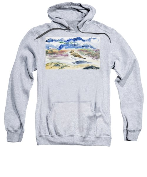 Watercolor - Double-banded Plover On The Beach Sweatshirt
