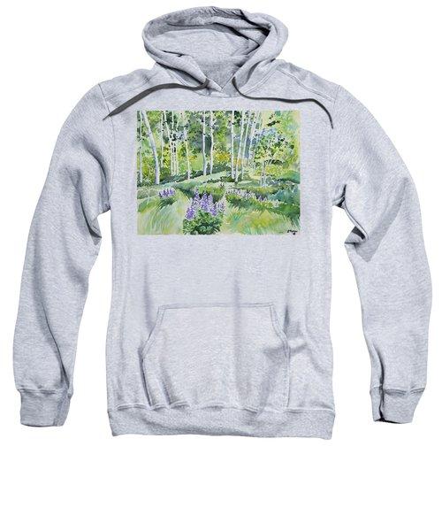 Watercolor - Early Summer Aspen And Lupine Sweatshirt