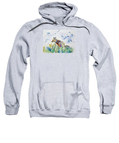 Watercolor - Fox On The Lookout Sweatshirt