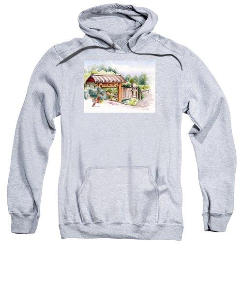 Watercolor Japanese Garden Gate Sweatshirt