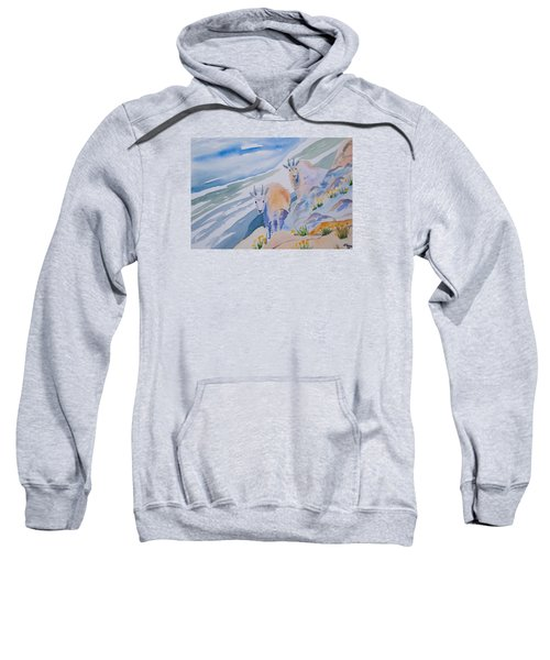 Watercolor - Mountain Goats On Quandary Sweatshirt