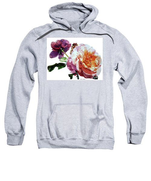 Watercolor Of Two Roses In Pink And Violet On One Stem That  I Dedicate To Jacques Brel Sweatshirt