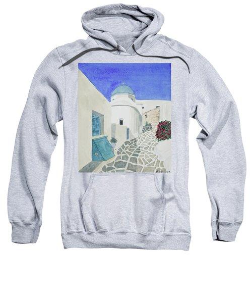 Watercolor - Paros Church And Street Scene Sweatshirt