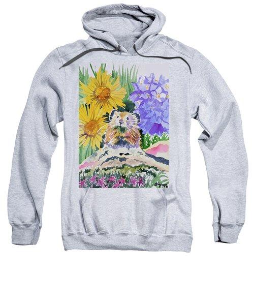 Watercolor - Pika With Wildflowers Sweatshirt