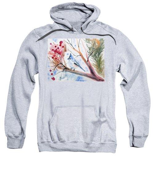 Watercolor - Tufted Titmouse With Winter Berries Sweatshirt