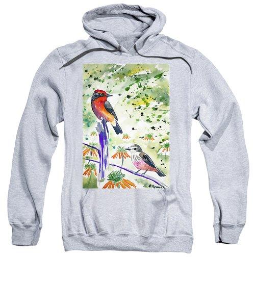 Watercolor - Vermilion Flycatcher Pair In Quito Sweatshirt