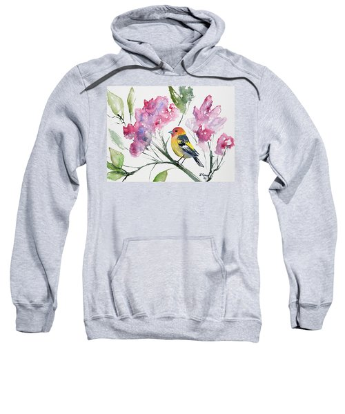 Watercolor - Western Tanager In A Flowering Tree Sweatshirt
