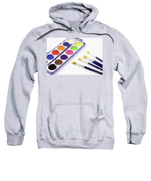 Watercolors And Brushes For School Sweatshirt