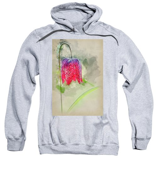 Watercolour Painting Of Single Snake's Head Fertillery Fresh Spr Sweatshirt