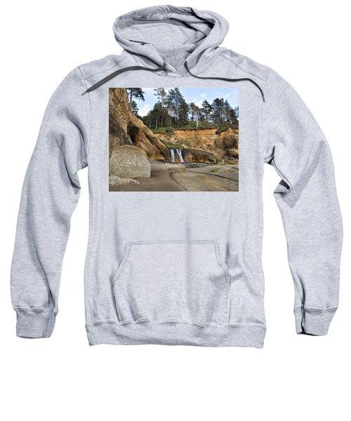Waterfall At Hug Point State Park Oregon Sweatshirt