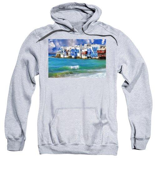 Waterfront At Mykonos Sweatshirt