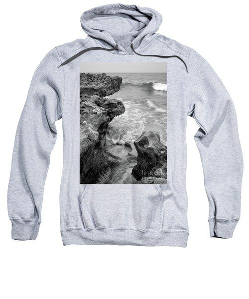 Waves And Coquina Rocks, Jupiter, Florida #39358-bw Sweatshirt