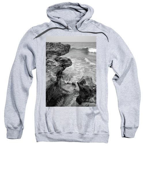 Waves And Coquina Rocks, Jupiter, Florida #39358-bw Sweatshirt