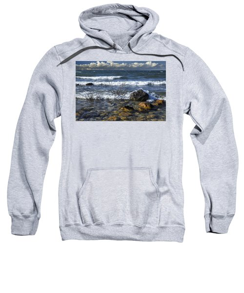 Waves Crashing Ashore At Northport Point On Lake Michigan Sweatshirt