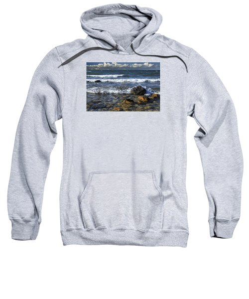 Waves Crashing Ashore At Northport Point On Lake Michigan Sweatshirt