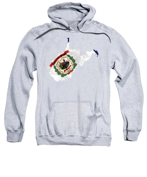 West Virginia Map Art With Flag Design Sweatshirt