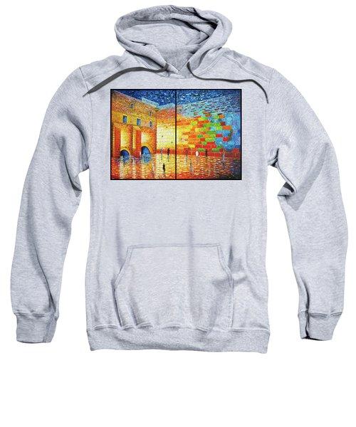 Sweatshirt featuring the painting Western Wall Jerusalem Wailing Wall Acrylic Painting 2 Panels by Georgeta Blanaru