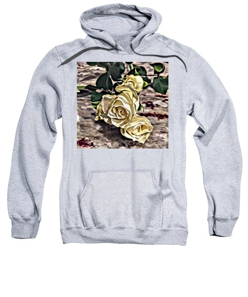White Baby Roses Sweatshirt