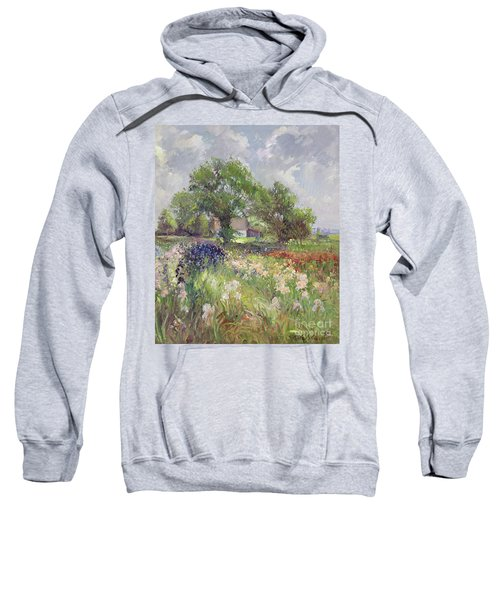 White Barn And Iris Field Sweatshirt