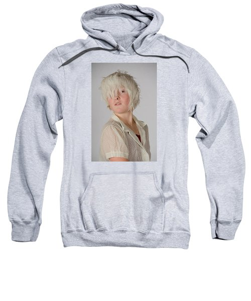 White Feather Wig Girl Sweatshirt