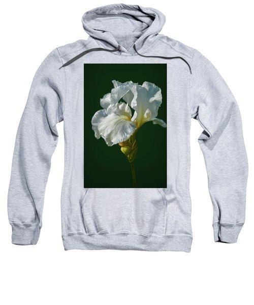 White Iris On Dark Green #g0 Sweatshirt