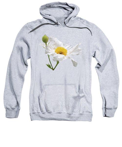White Matilija Poppy On White Sweatshirt