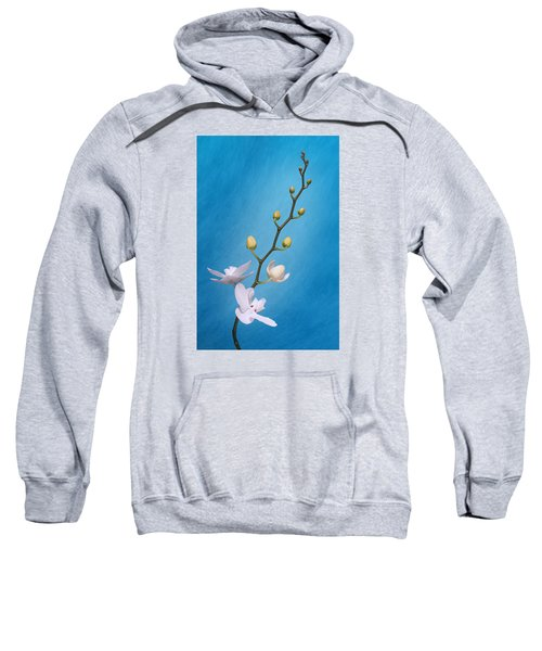White Orchid Buds On Blue Sweatshirt
