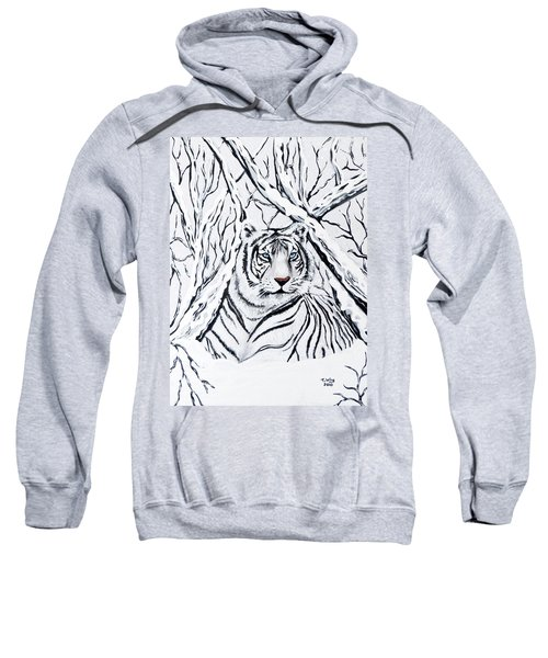 White Tiger Blending In Sweatshirt by Teresa Wing