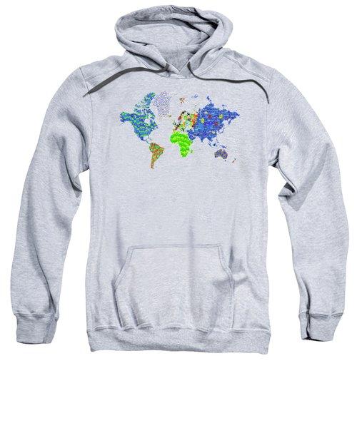 Whole World's Gone Bananas - World Map Sticker Art Sweatshirt by Rayanda Arts