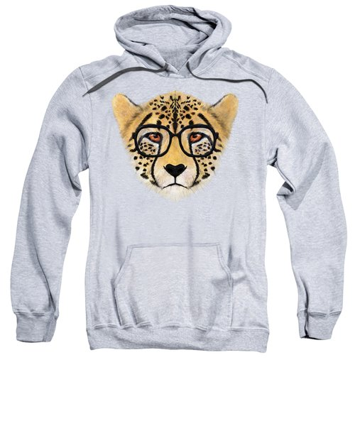 Wild Cheetah With Glasses  Sweatshirt by David Ardil