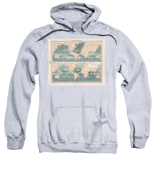 Winds Over The Oceans - Meteorological Map - Geological Map - Wind Direction And Speed Chart Sweatshirt