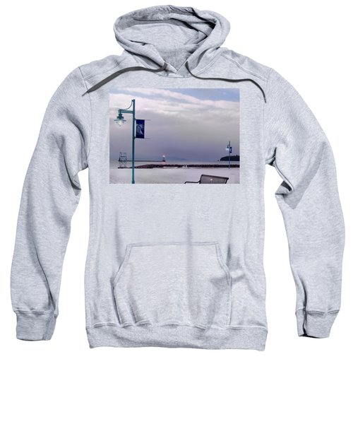Winter Lights To Rock Point - Derivative Of Evening Sentries At The Coast Guard Station Sweatshirt