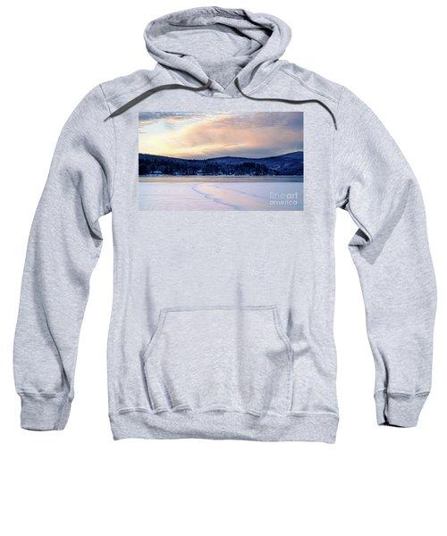 Winter Sunset On Wilson Lake In Wilton Me  -78091-78092 Sweatshirt